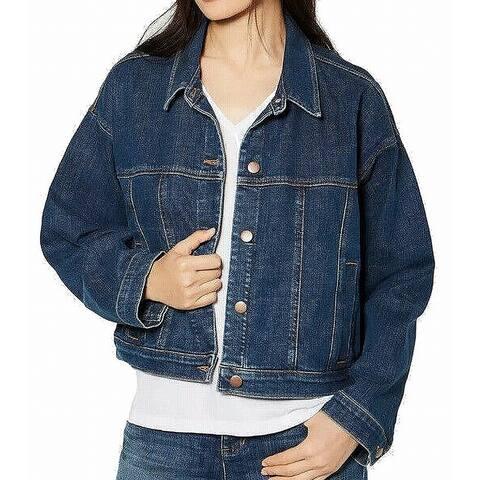 Eileen Fisher Women's Denim Jacket Blue Size Small Oversized Cropped