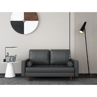 Link to Dionne Faux Leather Square Arm Loveseat Similar Items in Living Room Furniture