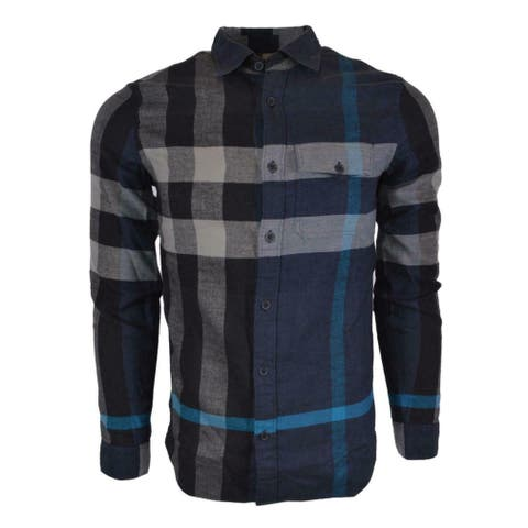 Burberry Brit Men's JAMIE Blue Cotton Flannel Beat Nova Check Shirt