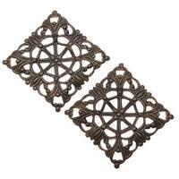 Vintaj Natural Brass, Moroccan Tile Filigree Bead 20x20mm, 2 Pieces
