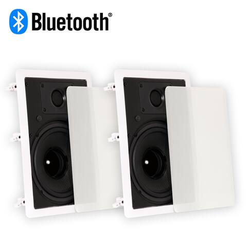 """Theater Solutions TS80W Bluetooth Flush Mount Speakers with 8"""" Woofers 2 Pack"""