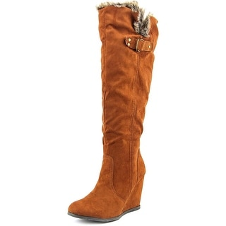 Qupid Noya Women Round Toe Synthetic Brown Knee High Boot