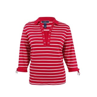 Karen Scott Women's Plus Size Striped Pattern Top (2X, New Red Amore) - new red amore - 2x