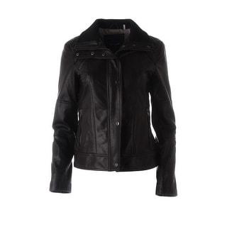 Cole Haan Womens Lambskin Leather Motorcycle Jacket - S