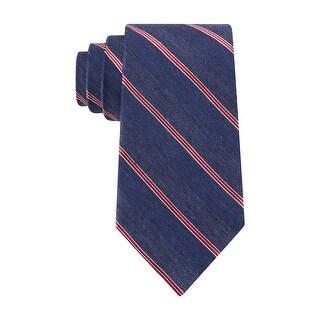 Club Room Estate Neckwear Denim Striped Classic Necktie Blue and Red Tie