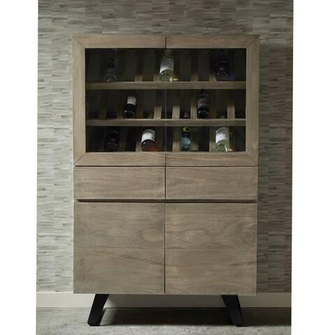 Distressed Grey Wood 24-bottle Wine Cabinet