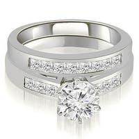 14kt White Gold 1.05 CT.TW Channel Set Princess Cut Diamond Bridal Set HI, SI1-2