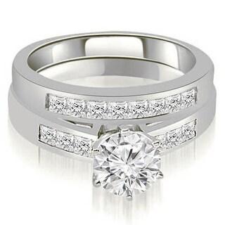 1.05 CT.TW Channel Set Princess Cut Diamond Bridal Set - White H-I