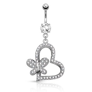 "Micro Pave CZ Heart with Butterfly Dangle Surgical Steel Navel Ring - 14GA - 3/8"" Length (Sold Ind.)"