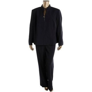Tahari ASL Womens Plus Leeann Solid 2PC Pant Suit - 24W