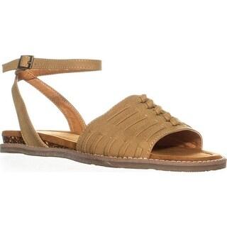 Bearpaw Amelia Woven Ankle Strap Sandals, Tan - 7 us