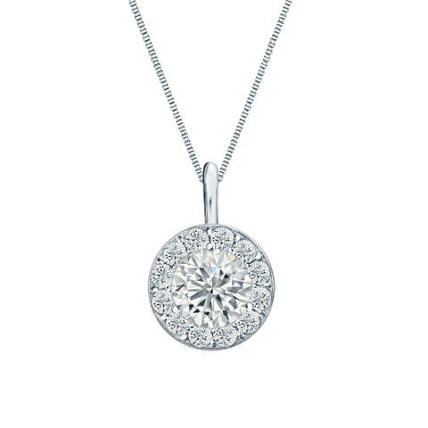 Round 1/2ctw Halo Lab Grown Diamond Necklace 14k Gold by Ethical Sparkle