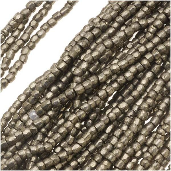 Czech Tri-Cut Seed Beads 10/0 'Terra Metallic Steel' (1 Strand/360 Beads). Opens flyout.