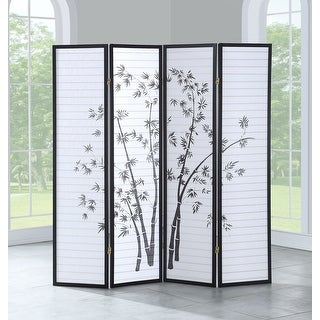 "Costway 4 Panel Room Divider Folding Privacy Shoji Screen Print Bamboo 68.5""WX70""H"
