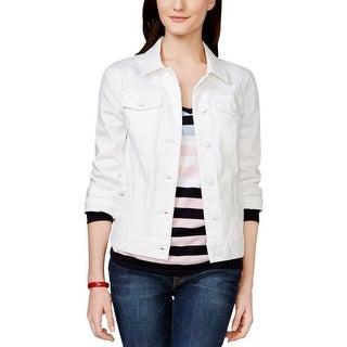 Tommy Hilfiger Womens Denim Jacket Long Sleeves Button Front - m