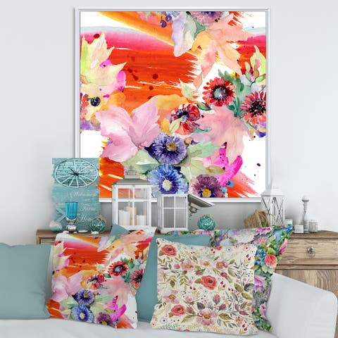Designart 'Vibrant Wild Spring Leaves and Wildflowers VII' Modern Framed Canvas Wall Art Print