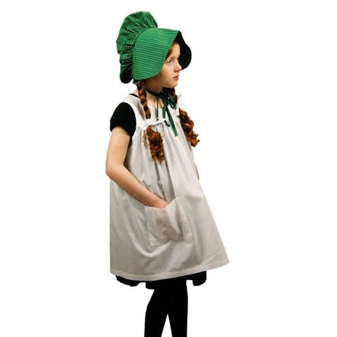 Officially Licensed Little House On The Prairie Child's Size Apron and Bonnet. Play Along Set with 18 Inch Dolls
