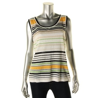 Jones New York Womens Linen Striped Tank Top