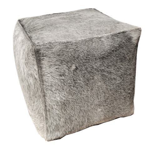 Square Cowhide Pouf GAMMA in Grey Cowhide