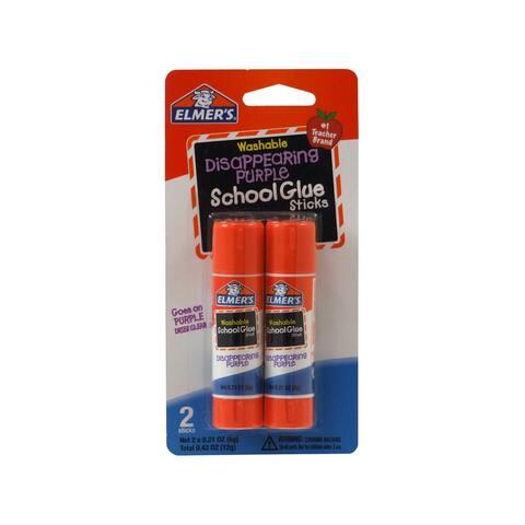 Elmer's E522 Disappearing Purple Washable School Glue Stick, 0.42 Oz, 2-Pack