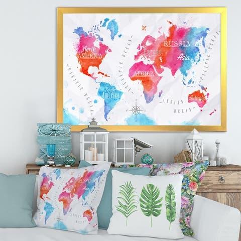 Designart 'World Map In Pink and Blue' Modern Framed Art Print