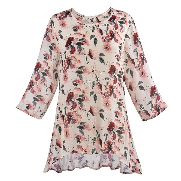 c8290e286e7 Catalog Classics Watercolor Flowers Tunic Top - 3/4 Sleeves High-Low Hem Top