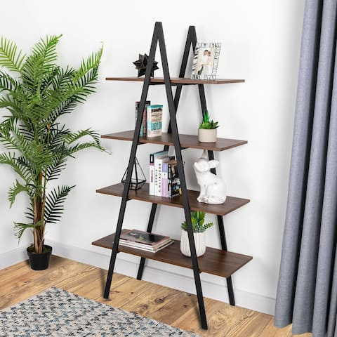 5.4-Foot Industrial A Shape 4-Tier Ladder Shelves Bookcase by Glitzhome