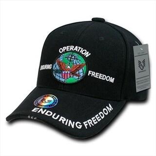 Deluxe Military Baseball Caps, Op Enduring Freedom, Black