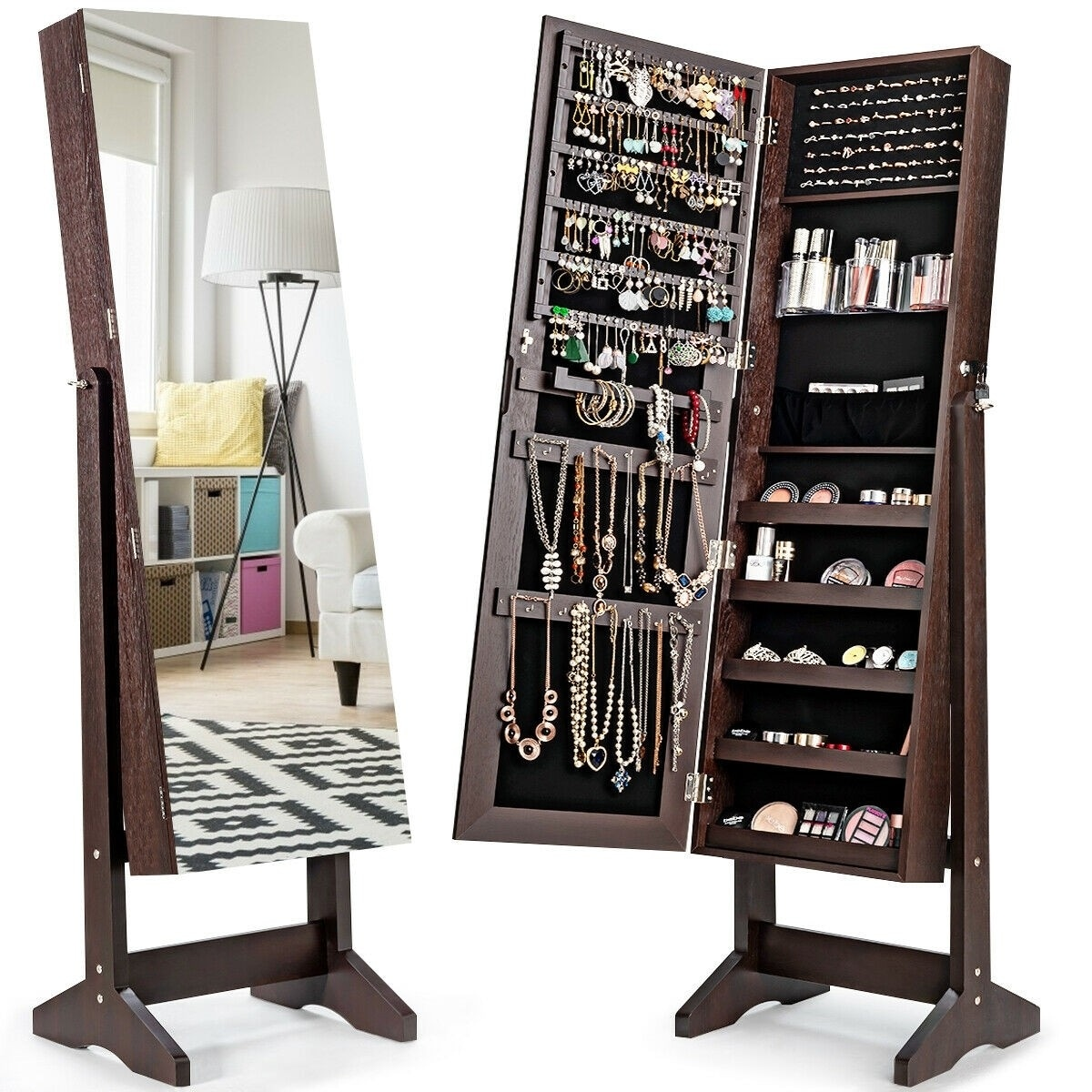 Standing Jewelry Armoire Cabinet With Full Length Mirror Overstock 32262283 White