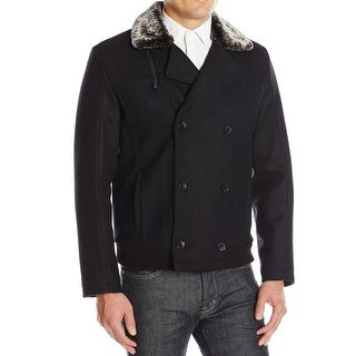 Calvin Klein NEW Black Mens Size Medium M Double-Breasted Wool Coat