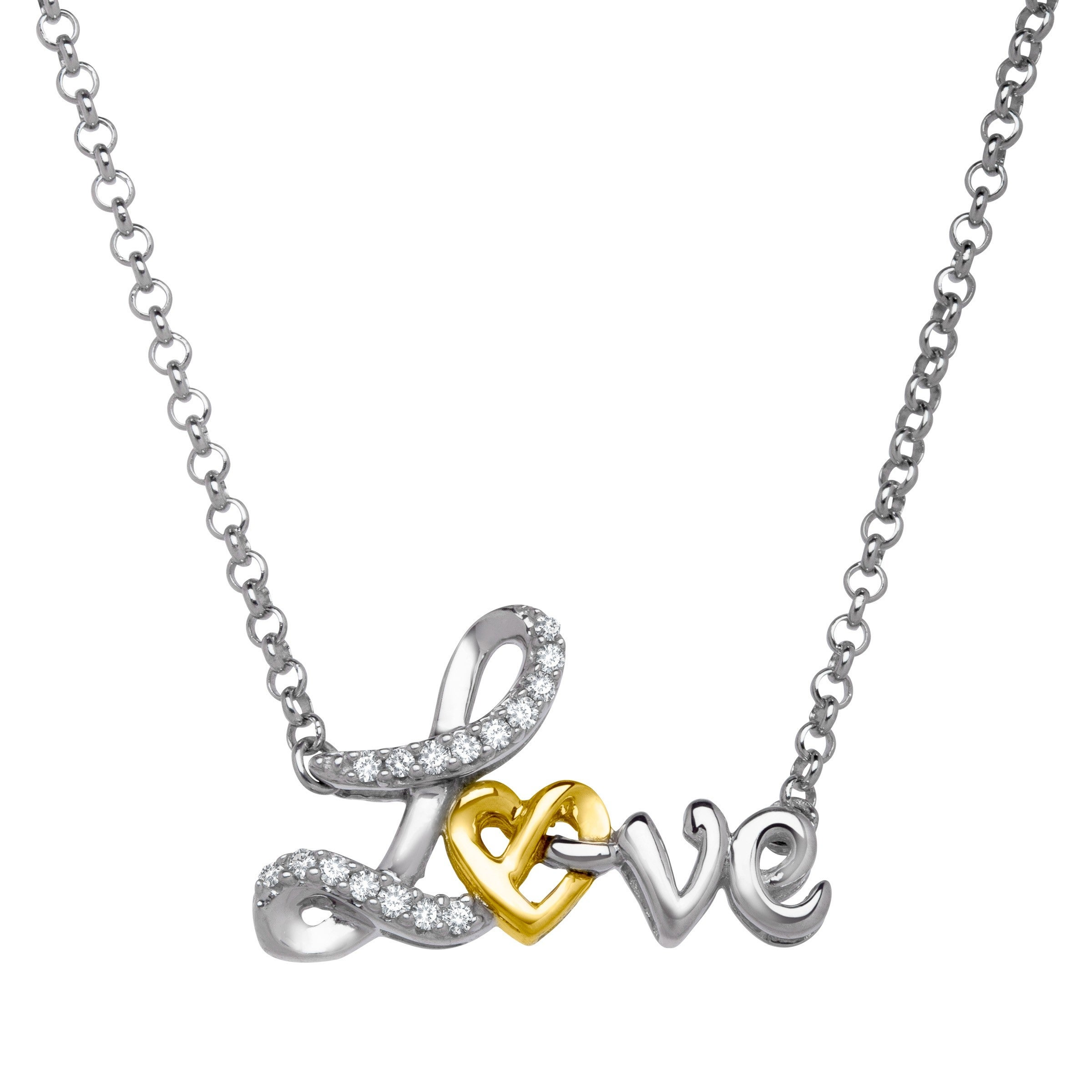 Script /'Love/' Necklace with Diamonds in Sterling Silver /& 14K Gold