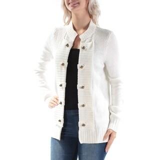 MAISON JULES $80 Womens New 1507 Ivory Beaded Long Sleeve Sweater S B+B