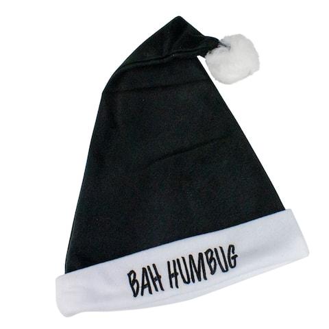 Black and White 'Bah Humbug' Unisex Adult Christmas Santa Hat Costume Accessory - One Size