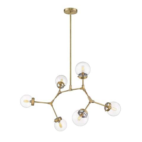 Modern Bubble Geometric Six Light Chandelier in Aged Brass