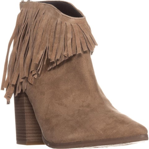 Kenneth Cole REACTION Pull Ashore Fringe Ankle Booties, Almond