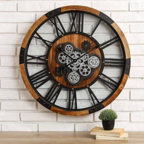 """Glitzhome 27""""D Industrial Wooden/Metal Wall Clock with Moving Gears"""