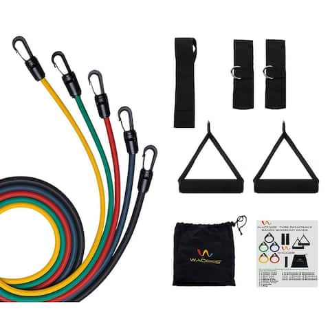 Wacces Resistance Band Set with Resistance Band Carrying Case, 11 Pcs