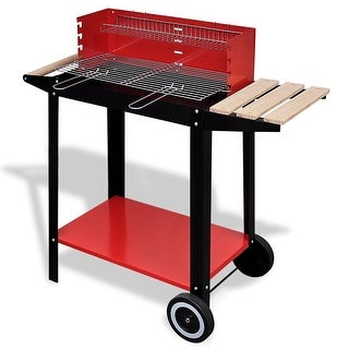vidaXL Charcoal BBQ Stand with 2 Wheels