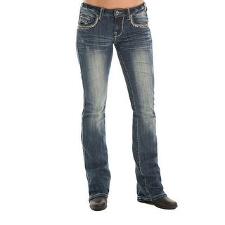 Cowgirl Tuff Western Denim Jeans Womens Studded Barbed Wire