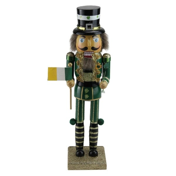 "14.5"" Luck of the Irish Gold and Green Wooden Christmas Nutcracker Decoration"