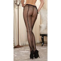 Fishnet Pantyhose With Back Seam, Black Fishnet Pantyhose - One Size Fits most