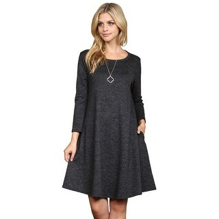 Riah Fashion's Two Tone Brushed Hacci Pocket Dress
