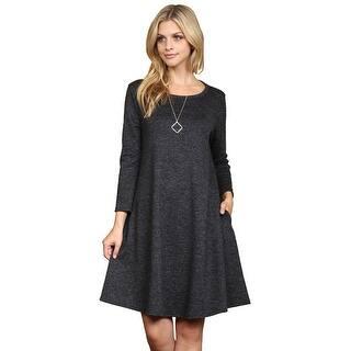 bfc1b63ba9 Riah Fashion s Two Tone Brushed Hacci Pocket Dress