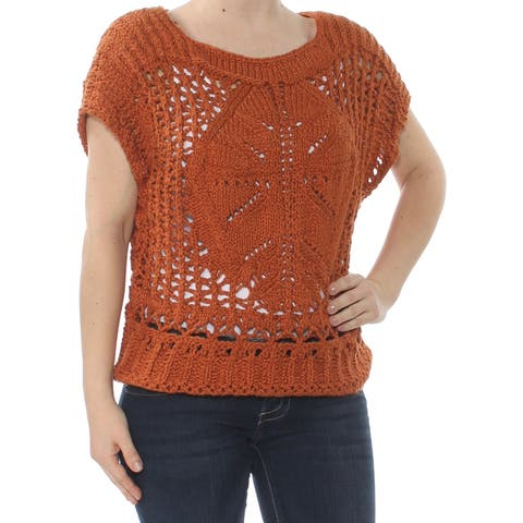FREE PEOPLE Womens Brown Crochet Short Sleeve Crew Neck Sweater Size: L
