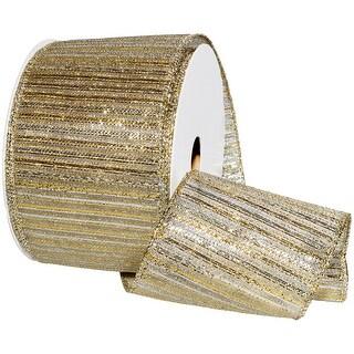 """Gypsy Wired Lurex Ribbon 2.5""""X10yd-Gold/Silver"""