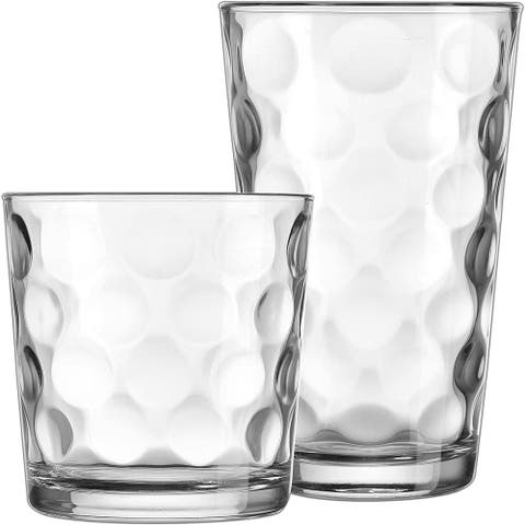Modern Drinking Glasses Set, 12-Count Galaxy Glassware, Includes 6 Cooler Glasses(17oz) 6 DOF Glasses(14oz) - 12-piece