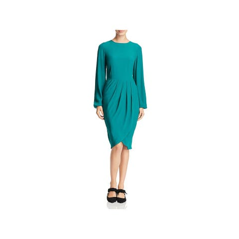 Yumi Kim Womens Dreamer Midi Dress Crepe Faux-Wrap - Jewel Emerald