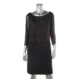 Patra Ltd Womens Beaded 3/4 Sleeves Cocktail Dress - 10