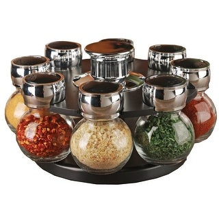 Palais Glassware Tournant Collection, Revolving Countertop Carousel Herb and Spice Rack with 3.5 Oz Glass Jars (Set of 8 Jars)