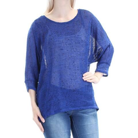 ALFANI Womens Blue 3/4 Sleeve Jewel Neck Hi-Lo Sweater Size: S
